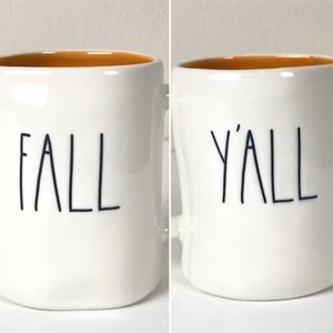New Rae Dunn FALL Y'ALL Coffee Mug Orange Inside